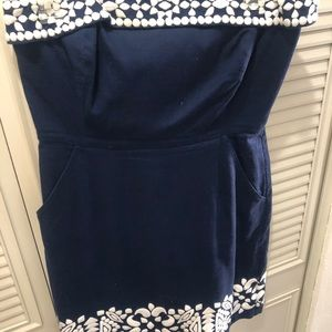 Linen strapless dress